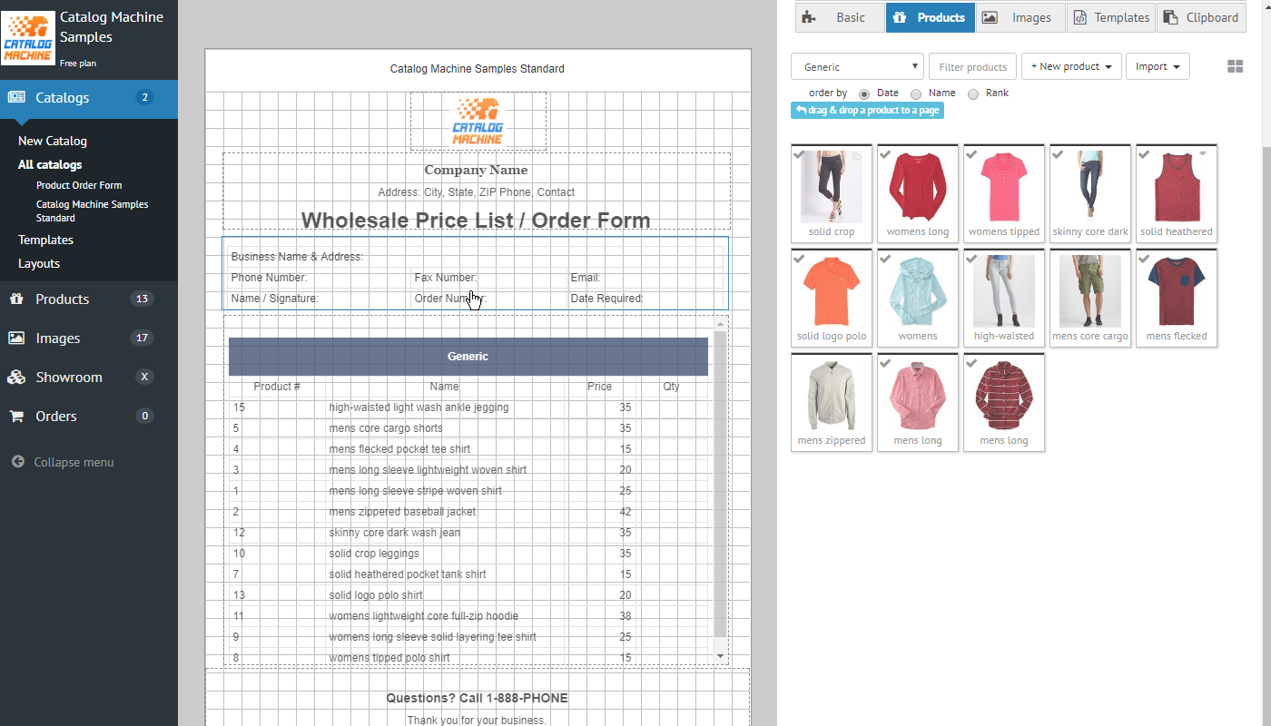 Product Order Forms > Easily Create Order Forms & Catalogs with ...