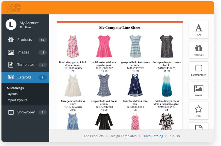 Create a line sheet with free templates catalog machine New website create free online